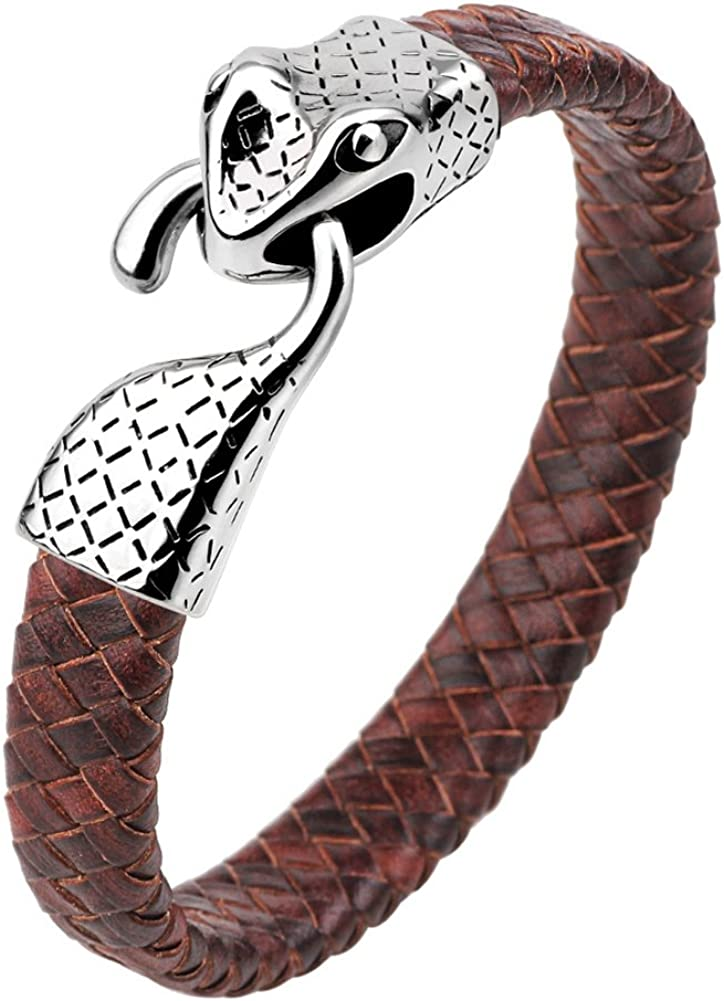 INMOFN Color Braided Leather Bracelet Mens Womens Stainless Steel Snake Head Clasp Wrist Cuff Bangle