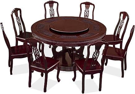 Exceptionnel ChinaFurnitureOnline Ensemble Table De Salle à Manger Ronde En Palissandre  Avec 8 Chaises Largeur 152,