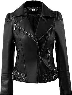 VearFit Women's Fancy Biker Moto Missy Regular Real Black, Pink, Red and Tan Lambskin Leather Jacket