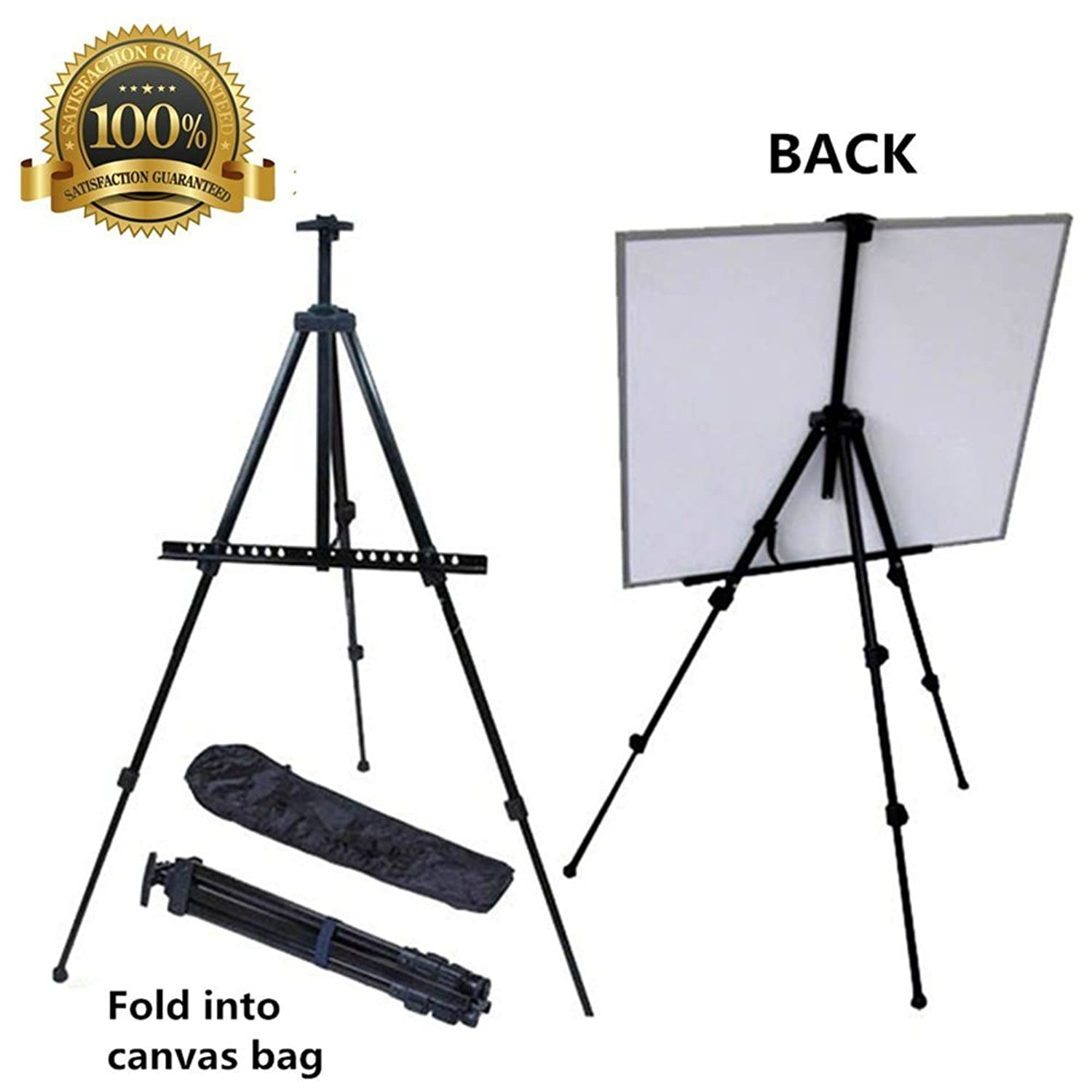 Easel for Painting, Mukin Field Easel Stand for Posters - Perfect Painting,Office, Display Easel - Adjustable Height Lightweight Folding Telescoping Tripod Easels for Table or Floor - 63 Inches Tall.