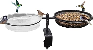 Urban Deco Deck Bird Feeders Deck Mount Bird Bath Spa for Dual Use Deck Flower Stand Flower Pot Great for Attracting Birds Detachable and Adjustable Heavy Duty Sturdy Steel,Bronze