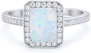 Princess Kylie Blue Simulated Opal Straight Bar Design Ring Sterling Silver