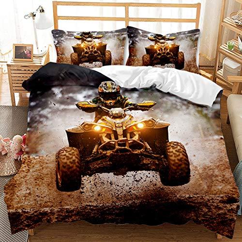 CXYXHW Set di biancheria da letto con stampa 3D per motocross, per ragazzi e ragazzi, con stampa sportiva, con chiusura lampo, 135 x 200 cm, 2 pezzi