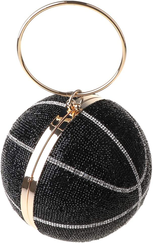 Women's Evening Bag - Rhinestone Basketball Evening Bag for Wedding Clutch Christmas Party Purse Handbag