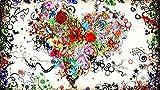 KsimYa Rompecabezas Jigsaw Puzzle, 1000 Pieces Heart Shaped Colorful Flower Puzzle Games Art Toys para Adultos Y Niños