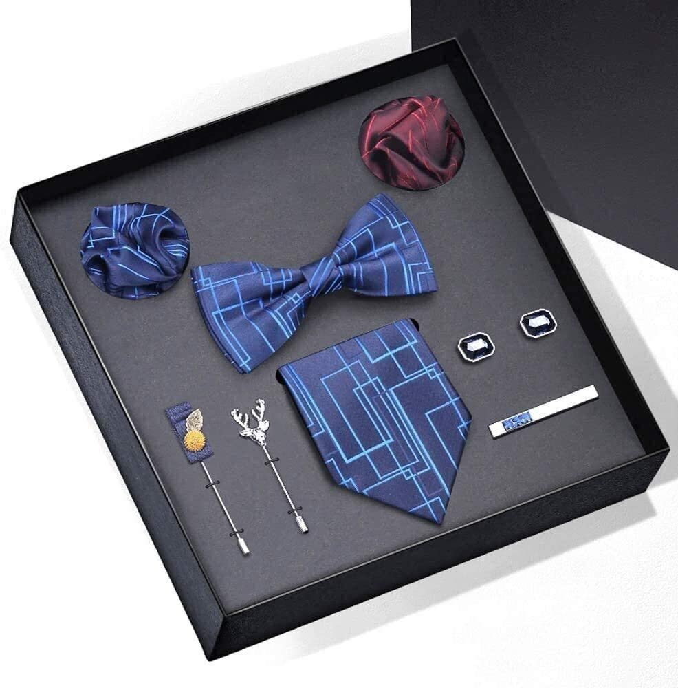 Men with Pocket Square and Cufflinks Fashion Classic Men Tie Pocket Square Cufflinks Set for Formal Wedding Business Party Set Gift Box Pack