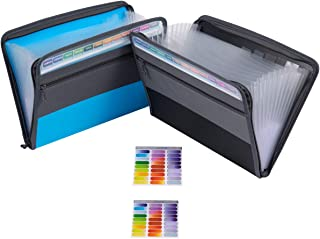 Accordian File Organizer, Zipper Document Organizer with 13 Pockets, Letter Size Expandable File Folder - 2 Pack