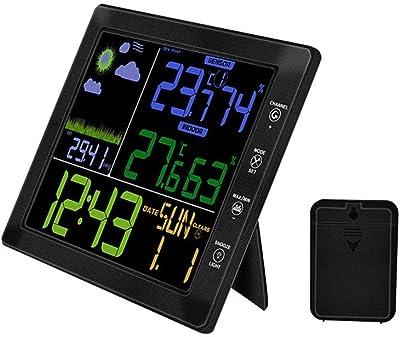 YTS Reloj inalámbrico de Temperatura y medidor de Humedad para Interiores y Exteriores, Pantalla multifunción