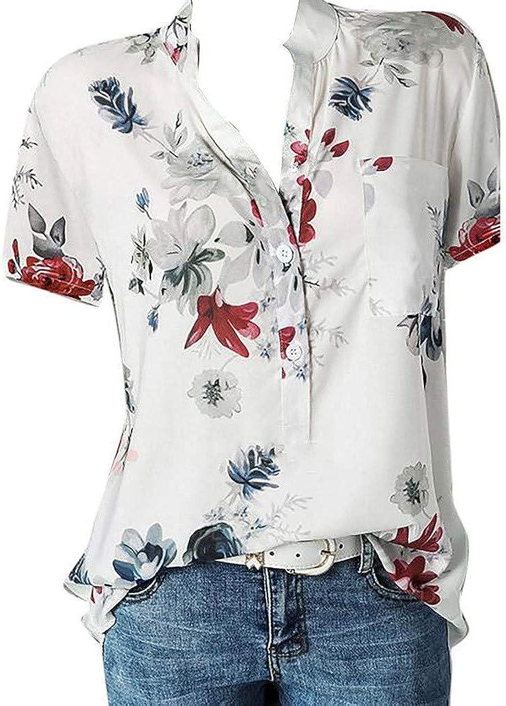Eduavar T Shirt for Women, Womens Fashion Short Sleeve Shirts Loose Flowy Lace Trim Tunic Blouse Summer Casual Tee Tops