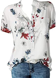 💖Women Fashion Trend Floral Flower Printing Pocket T-Shirt Plus Size Short Sleeve V-Neck Blouse Easy Top Shirt