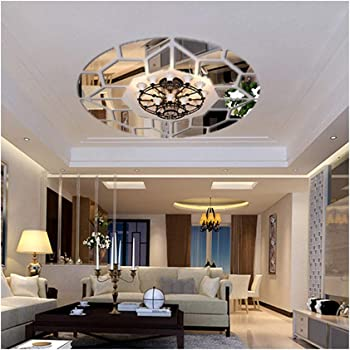 Amazon Com Diy Mirror Effect Ceiling Lights Decorative Wall Stickers Living Room Restaurant Bedroom Corridor Decorative Wall Decor Art Mural Decal Removable Arts Crafts Sewing