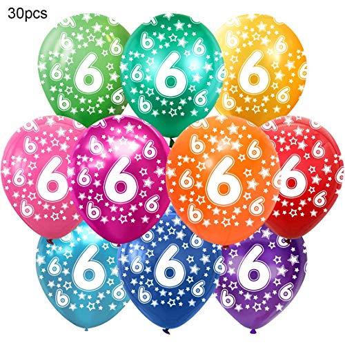 Bluelves Kunterbunte Luftballons 6 Jahre Metallic 30pcs Deko zum 6. Geburtstag Junge Mädchen, Jubiläum Hochzeit Party Kindergeburtstag Happy Birthday Dekoration Zahl 6