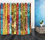 N/ Wasserdichter Stoff-Duschvorhang für Badezimmer, bunt, Holzdielen, Graffiti, 183 x 183 cm
