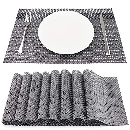 SueH Design Lot de 8 Sets de Table 45 * 30 CM Vinyle Tissé Gris