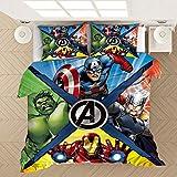 GSYHZL Marvel Avengers Juego de edredón,Juego de Cama de Impreso en 3D Adecuado para niños y niños,Funda de edredón y Funda de Almohada de Microfibra Suave y fácil de cuidar-2_200x229(3pcs)