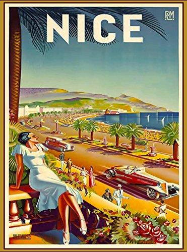 Niza Francia Europa coches europeos clásico Viaje Advertisement Póster