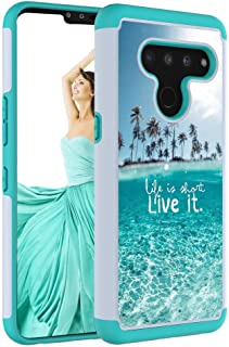 IQD for LG V50 ThinQ Case, Drop Protection Sleek Dual Layer Shockproof Colorful Graphic Phone Cases Silicone Matte Cloth for LG V50 / V50 ThinQ 5G Cover (The sea)