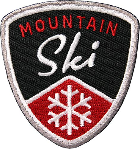 2 x Ski Mountain Aufnäher gestickt 62 mm / Skifahren Snowboard Skitour Schneeflocke Winter-Sport / Patches zum Aufnähen Aufbügeln auf Jacke Kleidung / Patch Aufbügler Flicken Bügelflicken Applikation