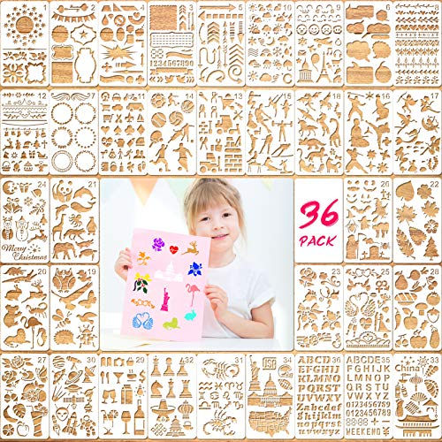 Templates for Kids Crafts(36Pack),Konsait Mixed Style Painting Template, English Letters Flowers Fruits Animals Drawing Stencil for Halloween Birthday New Year Party Favor Crafts Gifts Scrapbook Decor