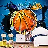 HUIJIE Photo Wallpaper,Custom 3D Large Mural Cartoon Basketball Broken Wall Mural Graffiti Wallpaper Children Kid's Bedroom Bar Modern Background Wall Painting,60Cm(H)×120Cm(W)