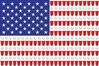 Beer Pong Flag American USA Flag Cool Wall Decor Art Print Poster 36x24