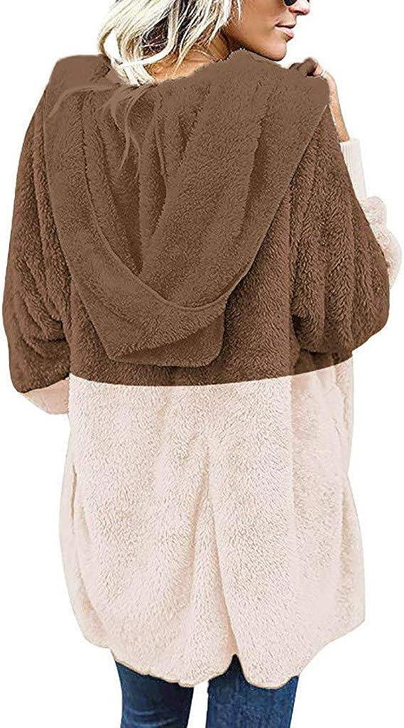KPILP Damen Jacke Plüsch Herbst Winter Mantel Warm Plüschjacke mit Kapuze Langarm Cardigan Strickjacke Übergangsjacke Teddy-Fleece Kapuzenjacke Trenchcoat E-khaki