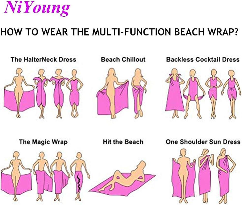 NiYoung Women Chiffon Sarong Beach Bikini Cover Up Wedding Party Shawls Wraps