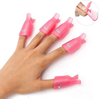 Sungpunet 10PC Plastic Acrylic Nail Art Soak Off Cap Clip UV Gel Polish Remover Wrap Tool Pink