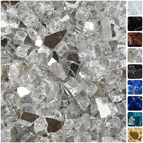 "Celestial Fire Glass High Luster, 1/2"" Reflective Tempered Fire Glass in Diamond Starlight, 10 Pound Jar"