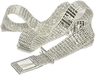 Ladies Inlaid Waist Chain New Sweet Rhinestone Belt (Color : Silver, Size : 115cm)