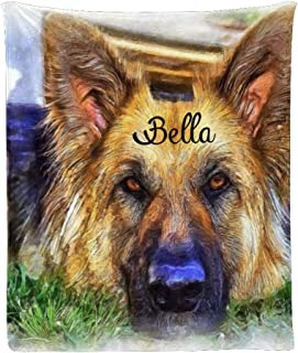 Sponsored Ad - CUXWEOT Custom Blanket with Name Text Personalized Dog Oil Painting Soft Fleece Throw Blankets for Gifts (5...