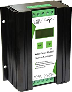Vaorwne 12/24V Wind And Solar Complementary Charge Controller Light/Timer Control Lcd Monitor Wind Turbine Solar Panel Charger (600W Wind+400W Solar)