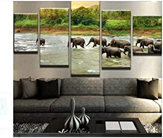 Modern Style 5-Piece of The Elephants Crossed The River Cuadros Decoracion Dormitorio Wall Art Canvas Unframed