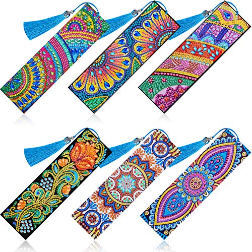 6 Pieces Diamond Bookmark DIY Painting Bookmark Floral Beaded Bookmarks Leather Tassel Bookmark for DIY Making Arts Crafts Students Adults Beginner Halloween Christmas Graduation Birthday Embroidery