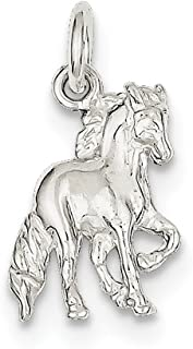 925 Solid Sterling Silver Equestrian Cowboy Wild Horse Charm (0.7IN long x 0.5IN wide)