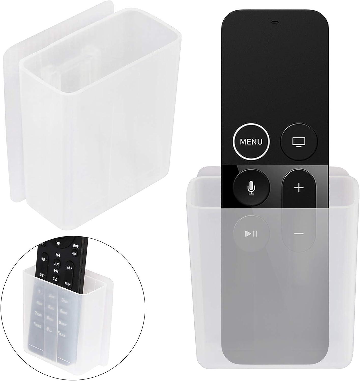 [2 Pack] Universal Remote Control Holder 7x6x3cm, Wall Mount Media Organizer - Pinowu Self-Adhesive Storage Box, Office Supply Accessories