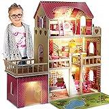 Kinderplay Grande Casa de Muñecas, Casa de Madera para con Garaje Iluminación LED con Muebles y Accesorios Incluidos, 3 Pisos, para muñecas de 90 cm, Casa Muñecas, Color Multicolor GS0020