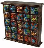 Guru-Shop Apothekerschränkchen mit Bunten 5x5 Fächern, 40x38x10 cm, Aufbewahrung