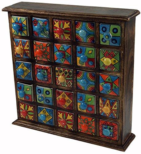 Guru-Shop Gabinete de Boticario con Colores 5 x 5 Compartimientos, 38x38x9 cm, Pequeña Schubfachschränkchen