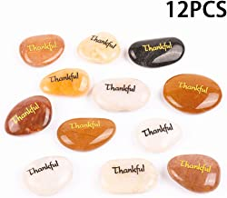 12PCS Thankful RockImpact Engraved Inspirational Stones, Pocket Word Stone River Rock, Zen Chakra Healing Palm Stone, Positive Encouraging Rocks, Gratitude Appreciate Thank You (Pack of 12, Thankful)