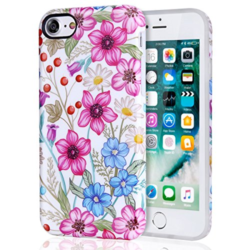 iPhone 7 Case for Girls, iPhone 8 Case, DAKMEEA Floral Pattern Best Protective Cute Women Colorful Flower Clear Slim Shockproof Glossy Soft Silicone Rubber TPU Cover Phone Case For iPhone 7 / iPhone 8