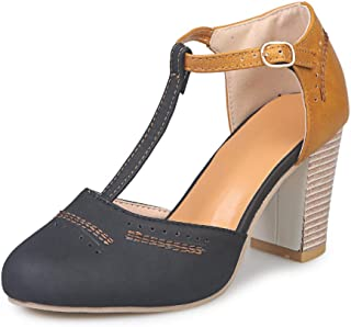 Women's Classic T-Strap Sandals Chunky High Heels Two Tone Vintage Oxfords Dress Pumps Sandal