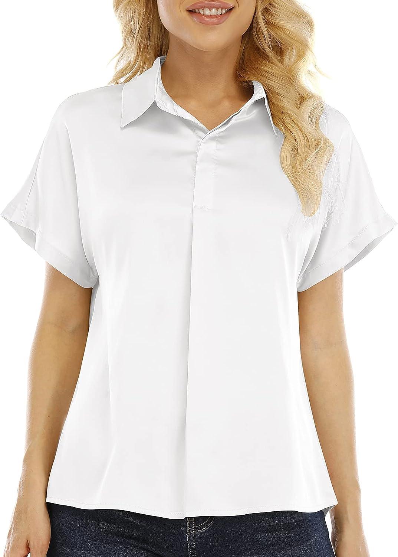 Airmiuu Womens Satin Button Down Shirt Short Sleeve Silk Blouse Office Elegant Work Shirt Top