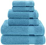 Hotel & Spa Quality, Absorbent & Soft Decorative Kitchen & Bathroom Sets, 100% Turkish Genuine Cotton 6 Piece Towel Set, Includes 2 Bath Towels, 2 Hand Towels, 2 Washcloths - Sky Blue
