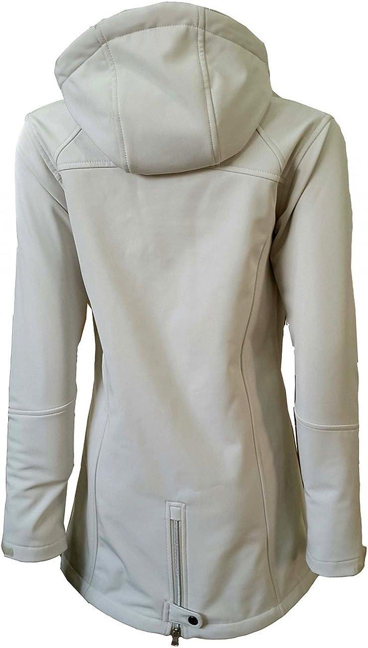 Dry Fashion Damen Softshell Mantel Sylt Tailliert Regenmantel Regenjacke cremeweiß