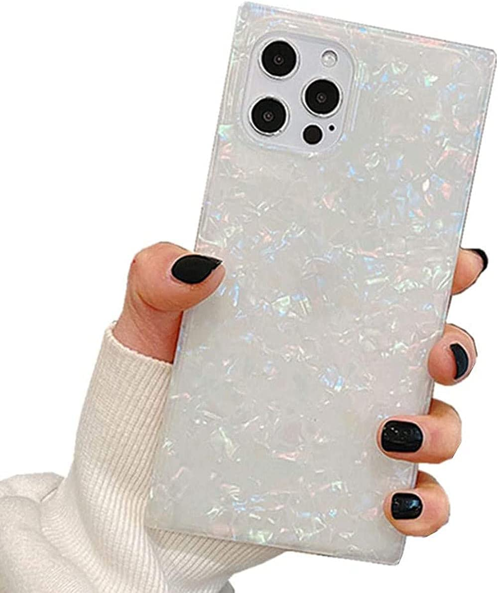 Square iPhone 12 Pro Max Case Cute Glitter Slim Fit Sparkle Crystal Soft Bumper Lightweight TPU Silicone Anti-Scratch Phone Cover for iPhone 12 Pro Max 6.7 inch for Girls Women Colorful