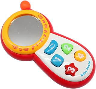 Cell Phone Toys for 1-Year-Old Baby, Suitable for Boys and Girls, Includes Mirror, Lights, Music, Sounds, Learn Numbers, Colors and Shapes Recognition, Boost Fine Motor Skills and Learning Development
