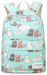 JUNDA Cat Print Leisure Canvas Backpack Laptop Schoolbag for Teens Girls Womens(Green)