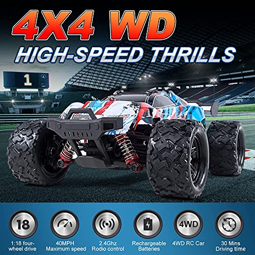 1:18 Scale 40+km/h RC Cars for Adults Remote Control Truck All-Terrain Toy Boys Girls Gift,Fast Racing Hobby Car 4WD Gas Powered rc Cars with Rechargeable Batteries