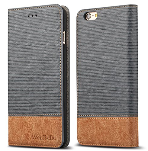 """for iPhone 6s 4.7"""" Case,WenBelle Blazers Series,Stand Feature,Double Layer Shock Absorbing Premium Soft PU Color Matching Leather Wallet Cover Flip Cases for Apple iPhone 6 6s 4.7 inch Vitality Grey"""